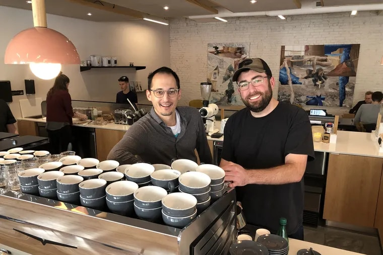 Matija Hrkac (left) and Marko Brkich at Cogito Coffee at 105 S. 12th St.