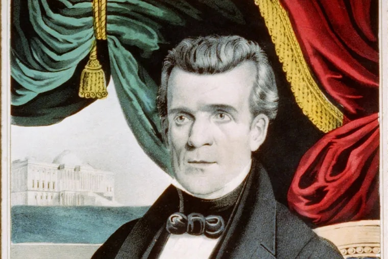 James K. Polk in a 1945 portrait with the U.S. Capitol seen through window in the background.