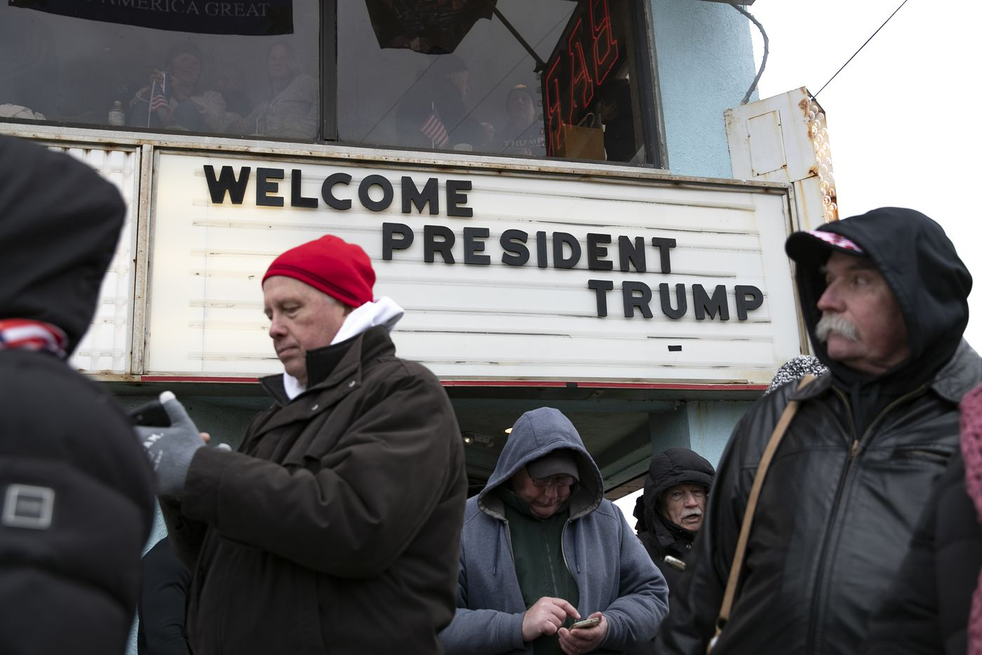 Thousands of people line up before the start of a Trump campaign rally in Wildwood, New Jersey on Jan. 28, 2020.