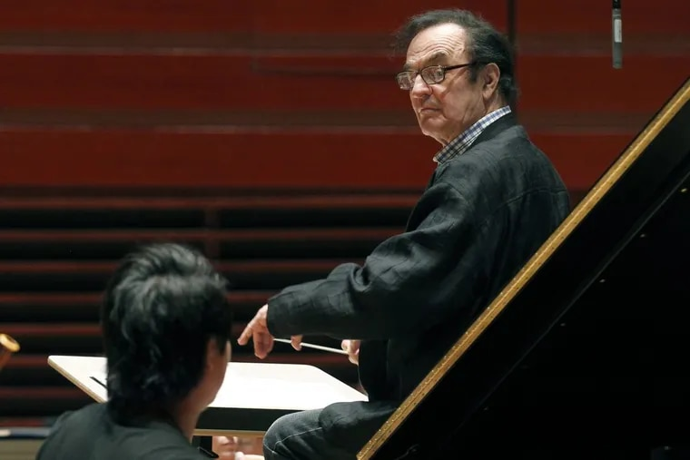 Charles Dutoit, in a 2011 photo, with the Philadelphia Orchestra during a rehearsal in Philadelphia. (AP Photo/Alex Brandon, File)