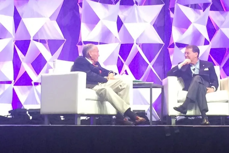 John Bogle, founder of Vanguard, takes questions Tuesday at the CFA Institute annual meeting in Philadelphia via moderator Ted Aronson. (Credit: Erin Arvedlund)