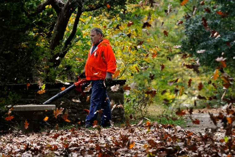 Steve Vasy blows leaves from a terrace next to the Mansion at Ridley Creek State Park.
