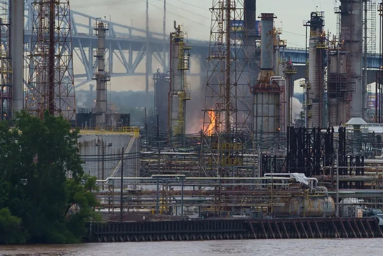 A view of the oil refinery, where a fire has been reported in Philadelphia on June 21, 2019.