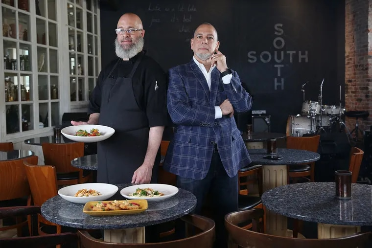 Co-owners and brothers Benjamin Bynum Jr. and Robert Bynum at South Jazz Kitchen in 2018.