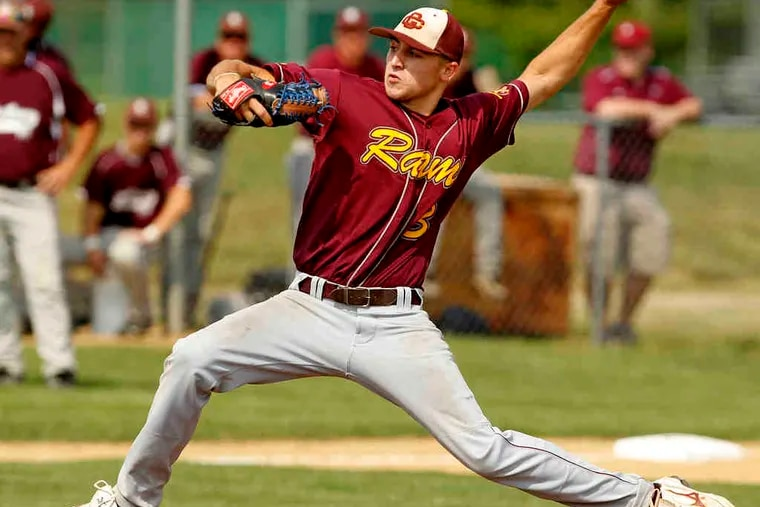 Gloucester Catholic's Cody Brown rears back and fires as he pitches a no-hitter against Holy Cross in the sectional title game. The 3-0 win sent the Rams to Saturday's state championship.