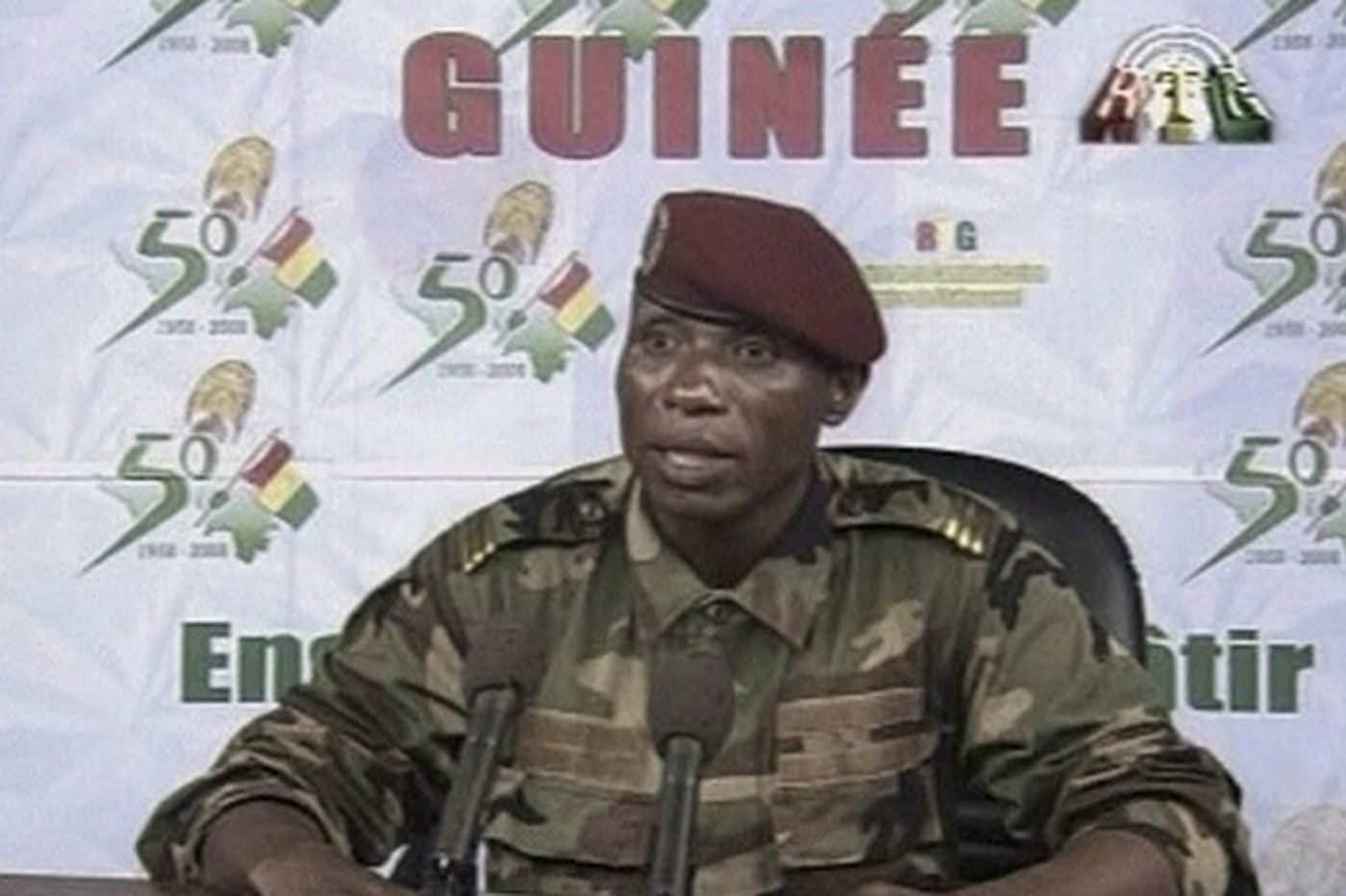 Crowds cheer the leader of Guinea's military coup