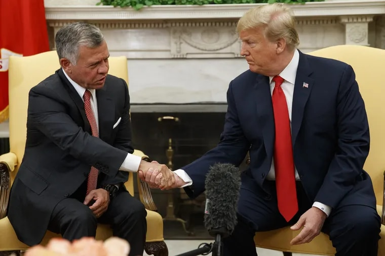 King Abdullah II of Jordan (left) meets with  President Trump on Monday in the Oval Office of the White House.