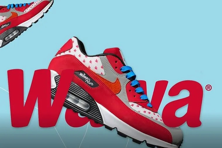 Ten Wawa fans will have a chance to win these limited-edition Wawa run sneakers by Garrixon, a Philadelphia sneaker designer and manufacturer, as part of Wawa's #WawaRun social media sweepstakes.