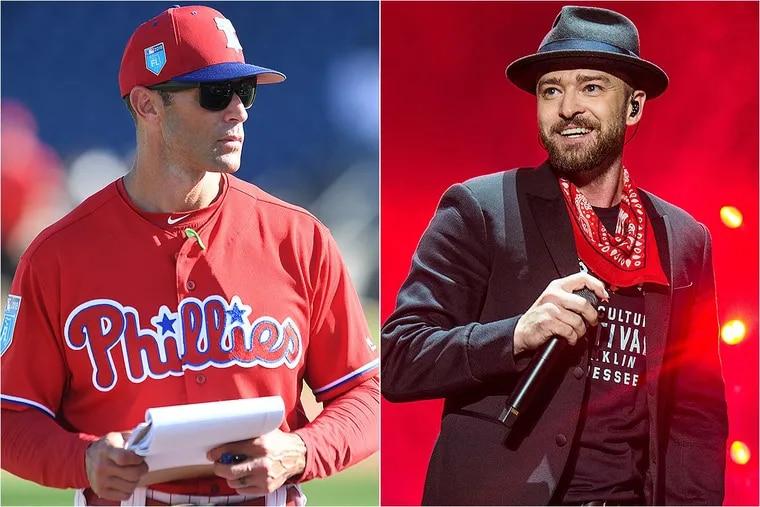 Philadelphia Phillies manager Gabe Kapler (left) and music star Justin Timberlake (right).