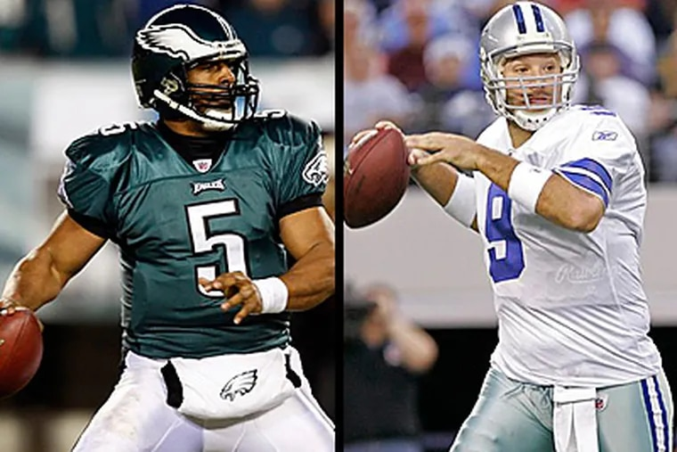 Donovan McNabb will lead the Eagles into Dallas on Sunday with the NFC East title and a first-round bye on the line. (AP file photos)