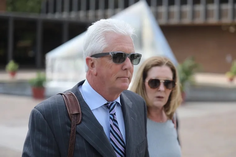 New Jersey electrical contractor George Peltz leaves federal court in Philadelphia on Monday, May 20, 2019, after being sentenced to 18 months in prison.