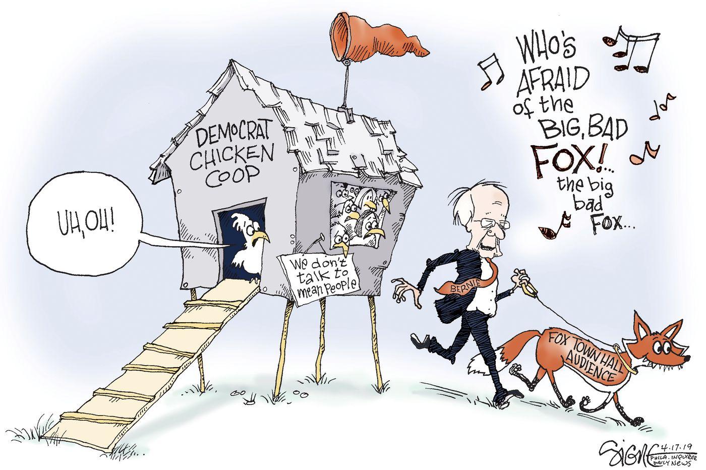 Political Cartoon: Bernie Sanders' Fox News town hall