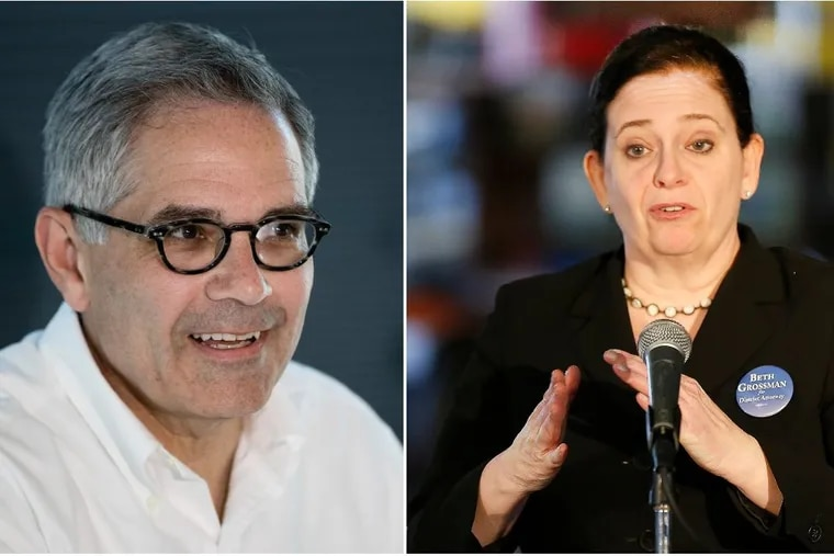 Democrat Larry Krasner (left) and Republican Beth Grossman, candidates for Philadelphia district attorney.