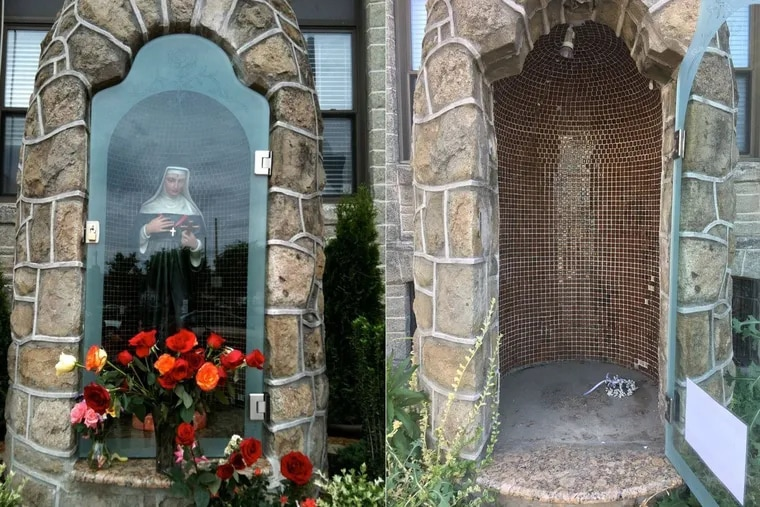 An outdoor statue secured behind a locked glass door was reported stolen Friday at the National Shrine of St. Rita of Cascia on Broad Street in South Philadelphia.