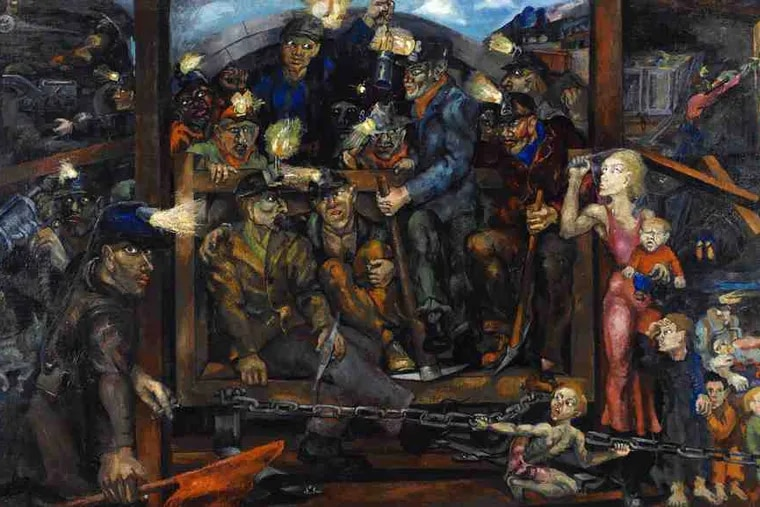 """Among key works pulled from storage for """"America Starts Here,"""" the museum and art school's reinstallation, is Philip Evergood's """"Mine Disaster"""" of 1933, a pungent social commentary."""