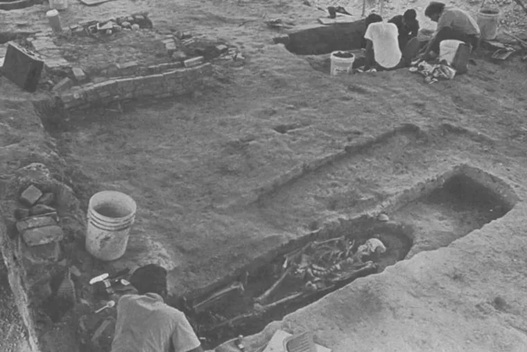 In August 1983, archeological workers digging through the remains of a 19th-century cemetery that was found in Center City during construction work for a new office complex.