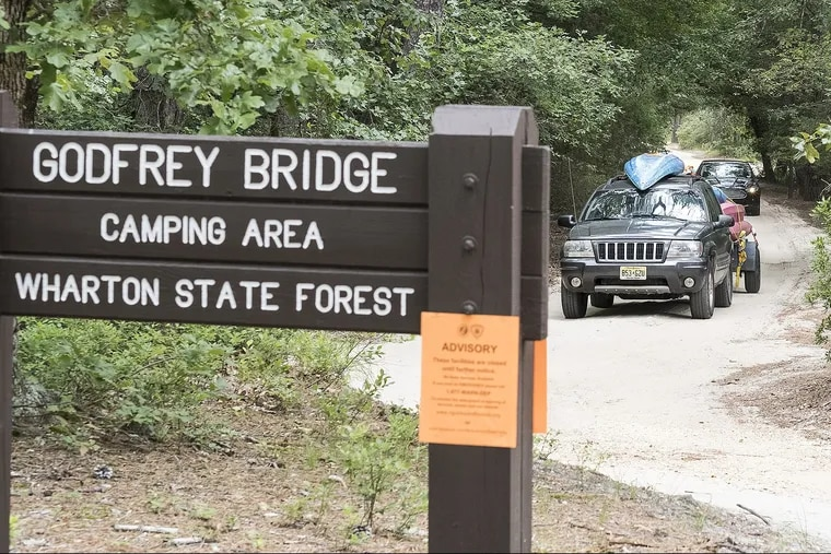 During last year's shutdown, signs were posted at Wharton State Forest advising campers and other recreational users of the park of its closure.