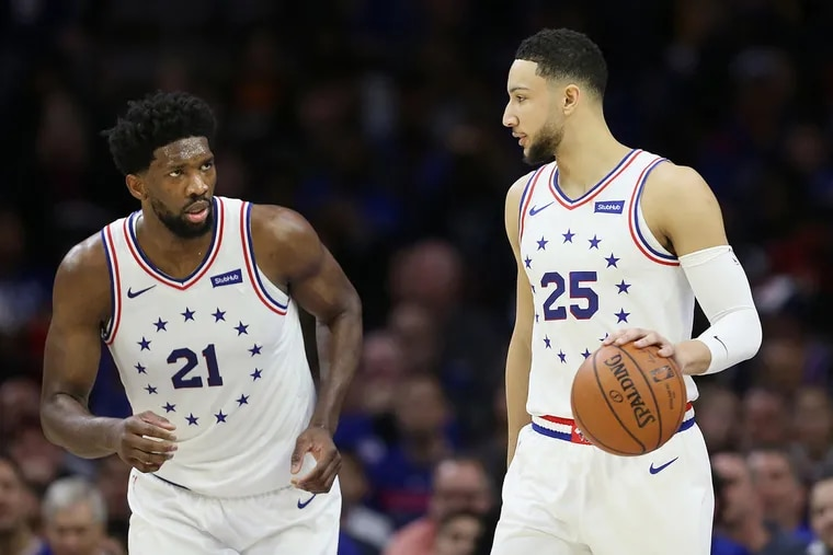 Sixers GM Elton Brand plays to assess the entire roster, but he doesn't plan to trade Joel Embiid (21) or Ben Simmons.