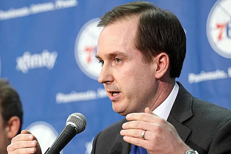 Sam Hinkie brings an impressive background in analytics, utilizing data to improve decision-making, and Josh Harris is a big fan. (Yong Kim/Staff Photographer)