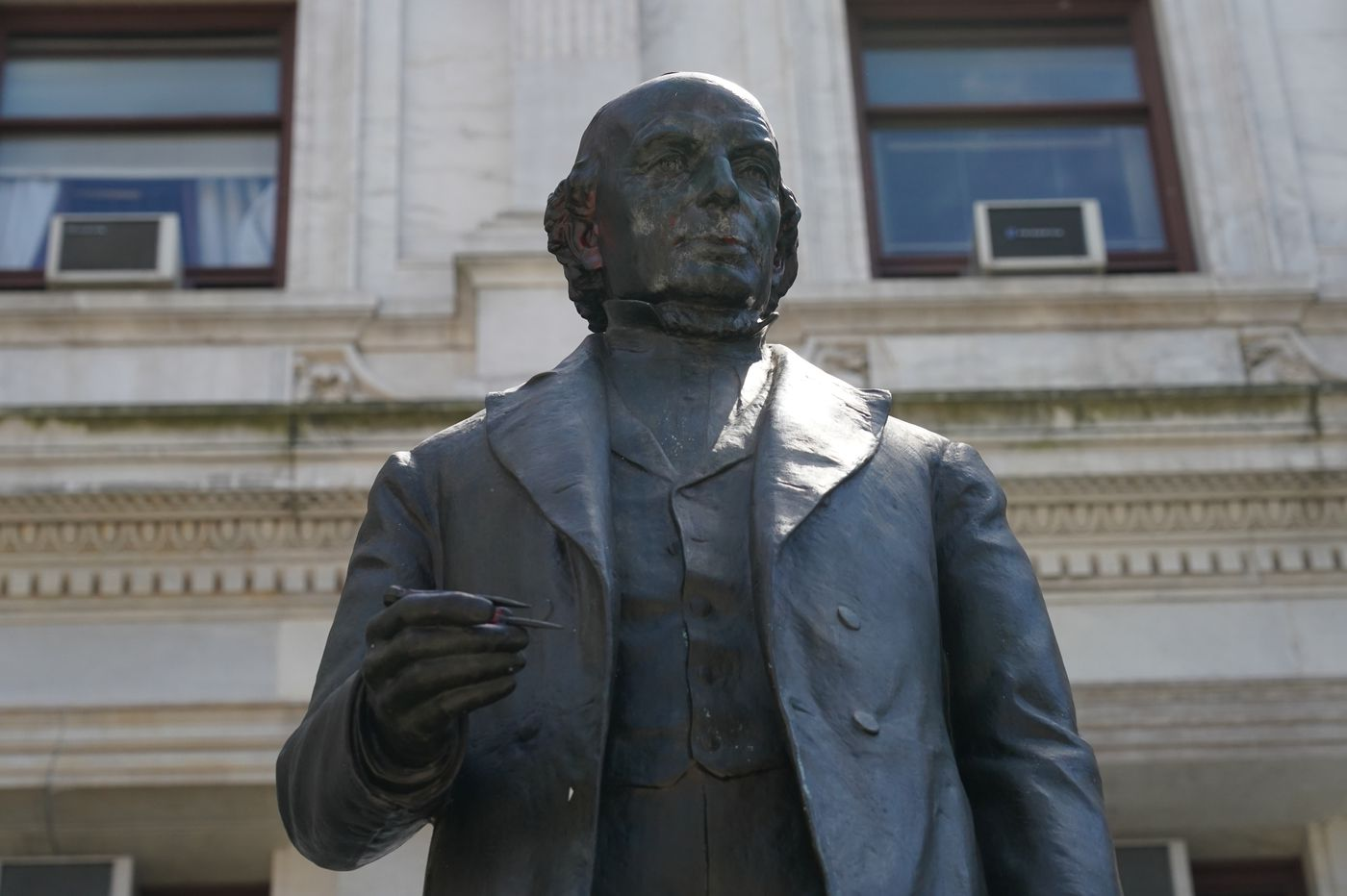 Photos of defaced statue of Philly abolitionist Matthias Baldwin go viral