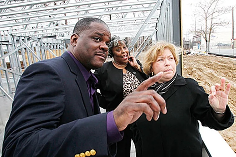 ( ALEJANDRO A. ALVAREZ / STAFF PHOTOGRAPHER )  From left are Ron Hinton, director of Allegheny West Foundation, Verna Tyner, of Tioga United and Gail Kass, President and CEO of New Courtland at the future site of New Courtland Senior Housing along Allegheny Avenue at 19th Street.
