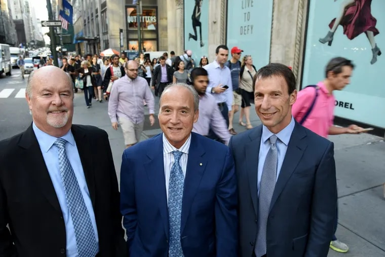 Three top leaders in the retail industry — Greg Maloney, CEO, Retail, JLL (left to right); Joseph Coradino, CEO, PREIT; and Stephen Lebovitz, CEO, CBL — pose on Fifth Avenue in Manhattan before sharing their thoughts and visions for where the retail industry is heading.