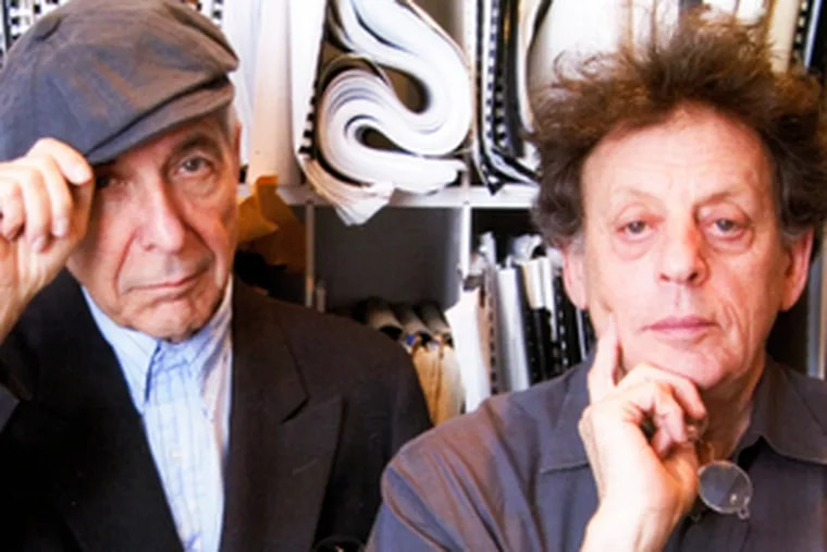 """On further review, one critic found a creepy edge to Leonard Cohen (left) and Philip Glass from the """"Book of Longing"""" CD jacket."""