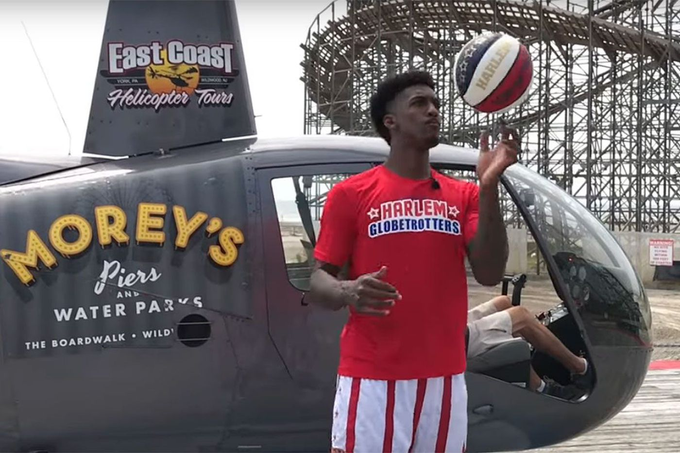 Watch: Harlem Globetrotter hits shot from helicopter in Wildwood