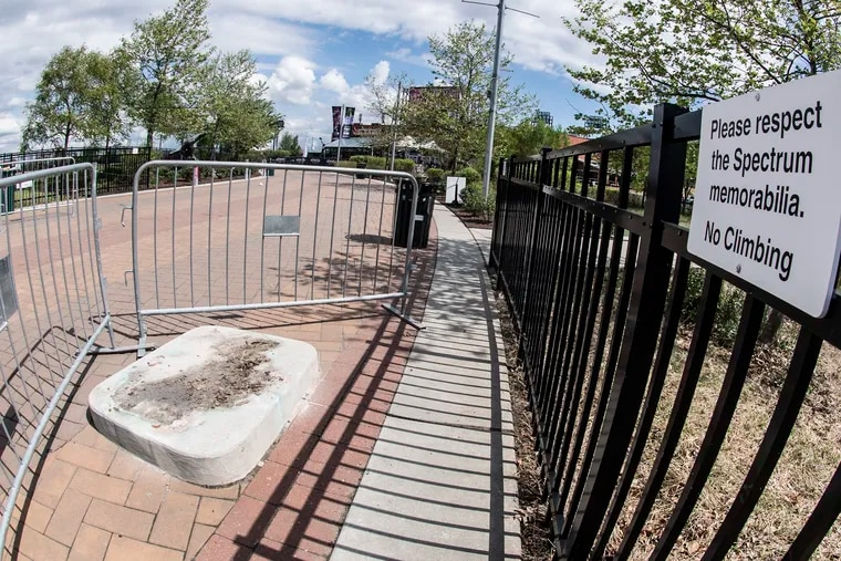 An concrete stand is shown on the space where the statue of Kate Smith was displayed at Xfinity Live! near the sports stadiums in South Philadelphia.