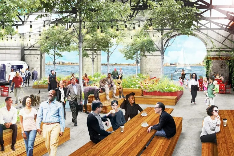 The Delaware River Waterfront corp. plans to turn Pier 9 into a maker's space with a public park and restaurant. Groundswell Design, which created Spruce Street Harbor Park, has designed the space using shipping containers. It will peel back the roof of the pier building at the water's edge to create the park