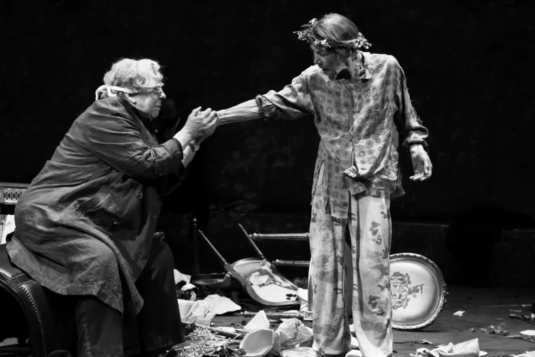 """Jayne Houdyshell (left) and Glenda Jackson in """"King Lear,"""" through July 7 at the Cort Theatre in New York."""