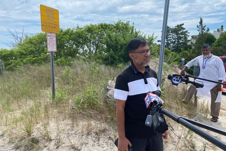 Mohammed Khalil of Clementon, talks about his brother, Jabed Ikbal, 24, missing off the bay in Ocean City near the Longport Bridge.