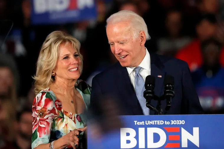 Jill Biden with her husband, Joe, at a primary election night rally in Columbia, S.C., in February.