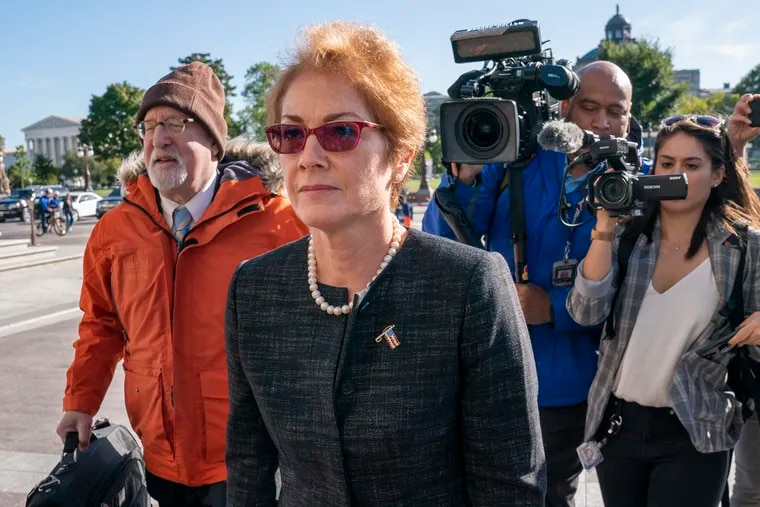 Former U.S. ambassador to Ukraine Marie Yovanovitch, arrives on Capitol Hill, Friday, Oct. 11, 2019, in Washington, as she is scheduled to testify before congressional lawmakers on Friday as part of the House impeachment inquiry into President Donald Trump.
