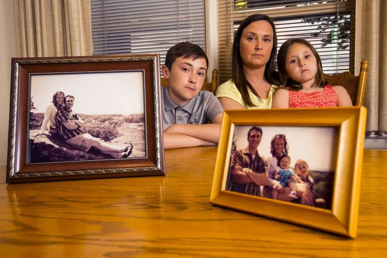 Suzanne Yorty lost her fiance and father of her children, Ryan Myers, to a drug overdose in 2016. She is shown with her children, Jarryn, 12, and Sophia, 6.  On the table in their York home are photos taken on Ryan's 27th birthday in 2013.