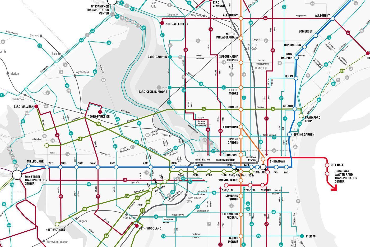 philadelphia public transportation map Septa Gives Its Bus Network Map An Upgrade philadelphia public transportation map