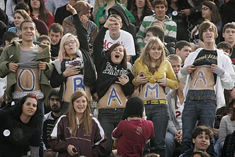<b>2008 As We Saw It:</b> On Oct. 3, Abington High School students show their support for President-elect Barack Obama.