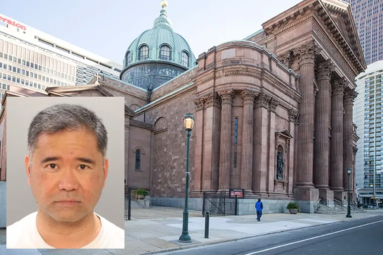 Rev. Armand Garcia (inset) was charged Monday with rape, sexual abuse, corruption of a minor stemming from an incident Aug. 1, 2014. Background: Cathedral Basilica of SS. Peter and Paul, in Philadelphia. ( Inset: Philadelphia Police Department; Background: MICHAEL BRYANT / Staff Photographer )