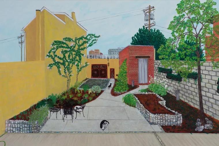"Sarah McEneaney's painting, ""New Yard"" (2018), acrylic on wood, at Locks Gallery"
