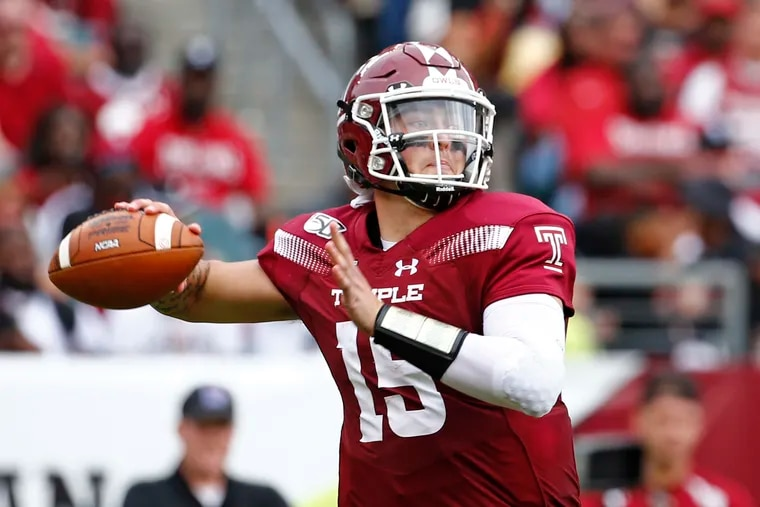 Temple quarterback Anthony Russo looks to pass against Memphis in the fourth quarter of an American Athletic Conference football game in October at Lincoln Financial Field. The Owls went on to win, 30-28.