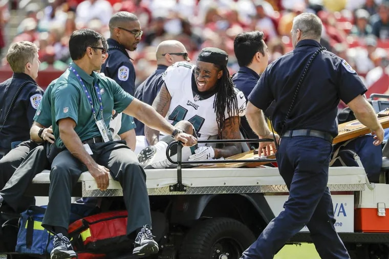 Eagles cornerback Ronald Darby was determined that this would not be the last picture taken of him in the 2017 season. He will play Sunday night for the first time since Week 1. YONG KIM / Staff Photographer