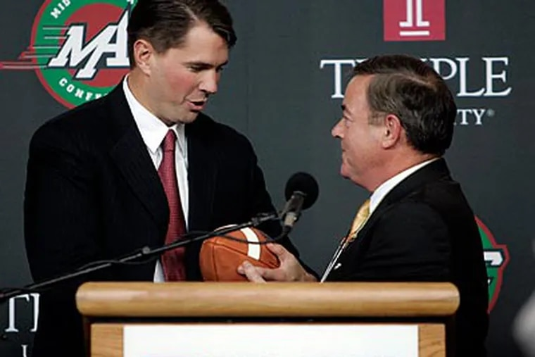 Temple athletic director Bill Bradshaw (right) has launched the search for a new football coach. (Vicki Valerio/Staff file photo)