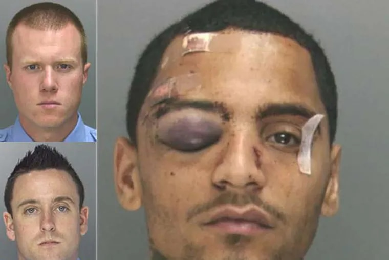 Philadelphia Police officers Kevin Robinson(top) and Sean McKnight (bottom) have been charged with the assault of Najee Rivera(right). (Handout photos)