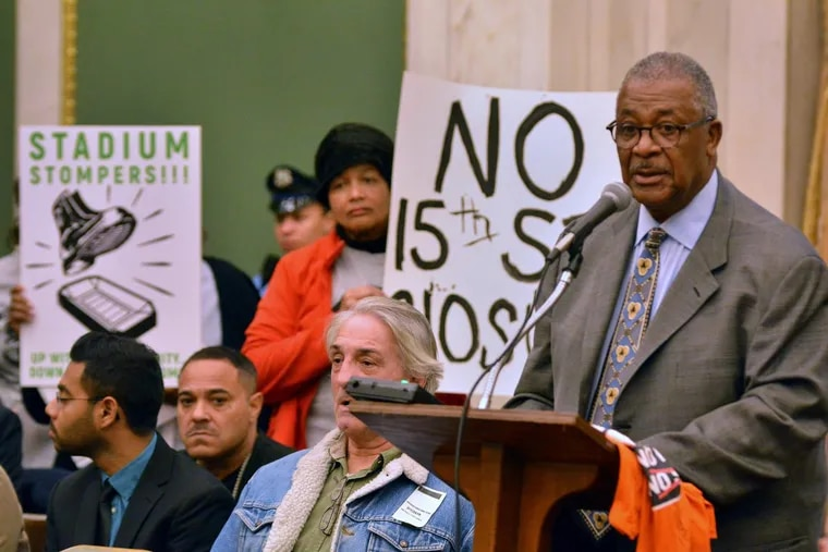 """The Rev. William B. Moore with the """"stadium stompers"""" group adresses Philadelphia City Council regarding the proposed Temple University Football Stadium during their meeting at City Hall on Thursday February 1,2018."""