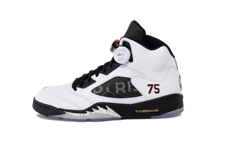 eBay is listing the Air Jordan 5 Paris Saint-German sneakers in a limited white colorway.