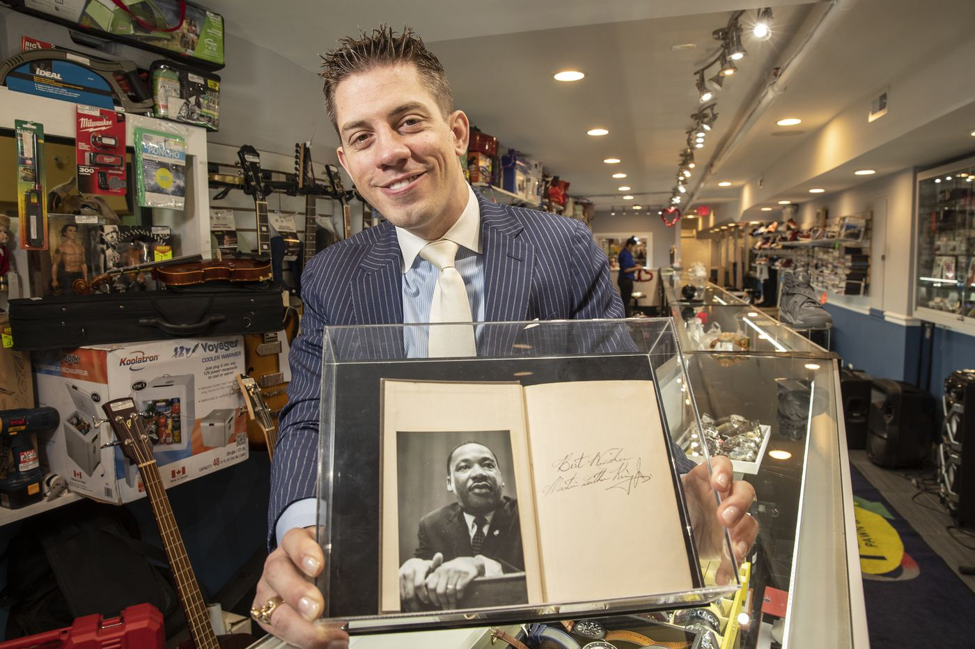 A Bible signed by Martin Luther King Jr. is on display at a S. Philly pawn shop