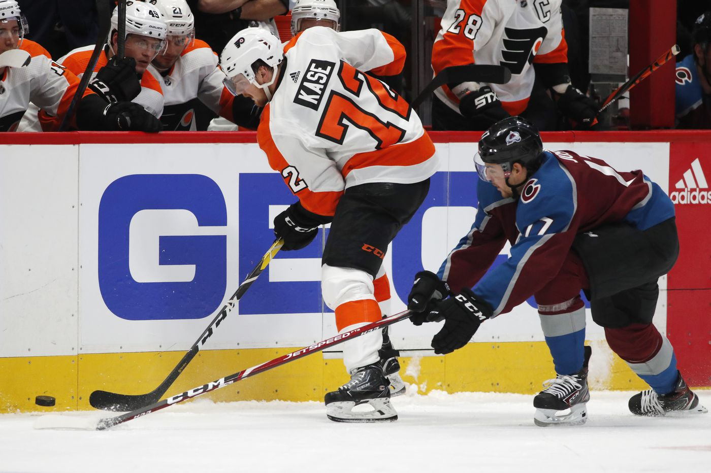 Flyers winger David Kase makes good showing in NHL debut against Avalanche