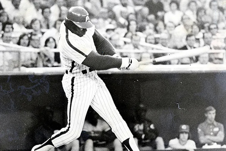 Dick Allen in an undated photo swinging away for the Phillies.