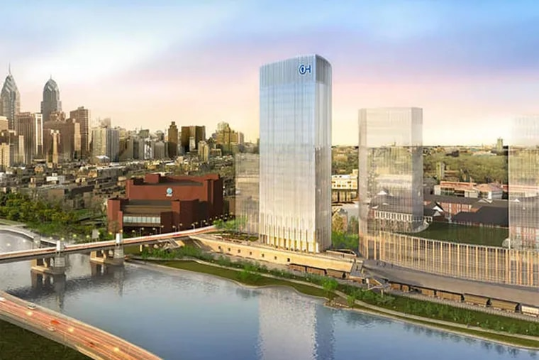 Children's Hospital of Philadelphia plans a research campus on the Schuylkill's east bank comprising a cluster of towers atop a garage podium stretching the equivalent of four city blocks.