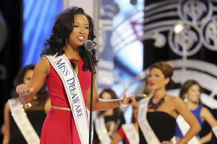Brittany Lewis, competing in 2014 as Miss Delaware at the Miss America pageant.
